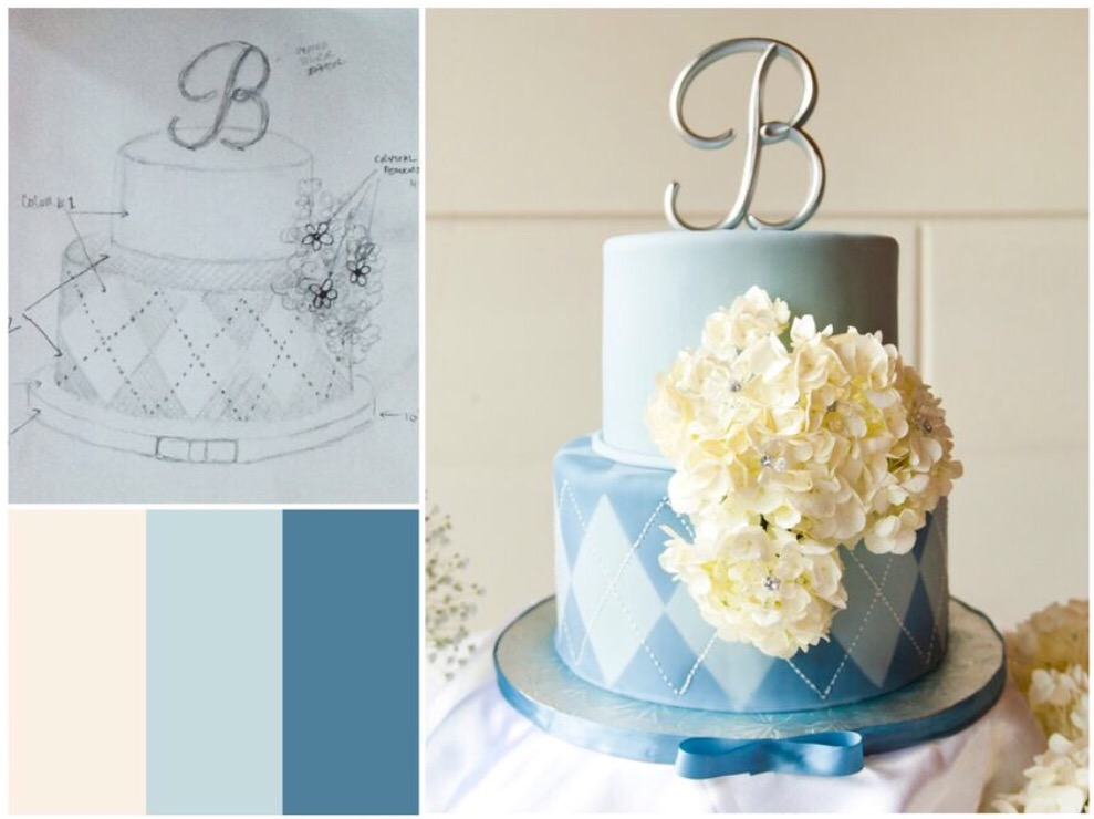 They provided the white hydrangeas silver cake plate and blue ribbon. & Wedding Cake Design u2013 Crazy for D.I.Y.