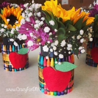 Teacher Appreciation Crayon Vase Centerpieces