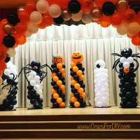 Light-Up Halloween Balloon Columns and Arch